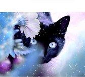 Diamond painting - zwarte kat - 20 x 25 cm