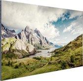 Berggebied Aluminium 120x80 cm - Foto print op Aluminium (metaal wanddecoratie)