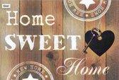 Diamond Painting pakket Home Sweet Home Hout Look - FULL - Diamond Paintings - 30x20 cm -  Vierkant  - Dotz - SEOS Shop ®