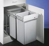 Wesco Big Double Inbouw Prullenbak - 52 l (2 x 26l) - Grijs