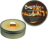 Cracklez® Knetterende Houten Lont Geurkaars in blik Campfire. Dennenhout Kampvuur Geur. Ongekleurd.