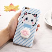 Let op type!! For iPhone 6 Plus & 6s Plus 3D Lovely Cat Cartoon Pattern Squeeze Relief IMD Workmanship Squishy Dropproof Protective Back Cover Case(Blue)