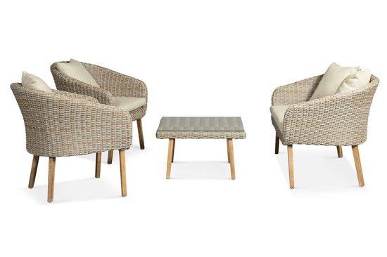 Lanterfant® Loungeset Maud – 4 zitplekken - tafel met veiligheidsglas – Beige - Lanterfant®