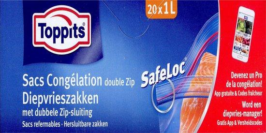 Toppits diepvrieszakken met dubbele zip-sluiting - 1 liter - 120 stuks