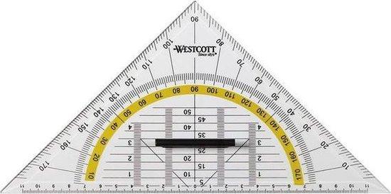 Afbeelding van Westcott - geodriehoek - transparant - afneembare handgreep - 22cm