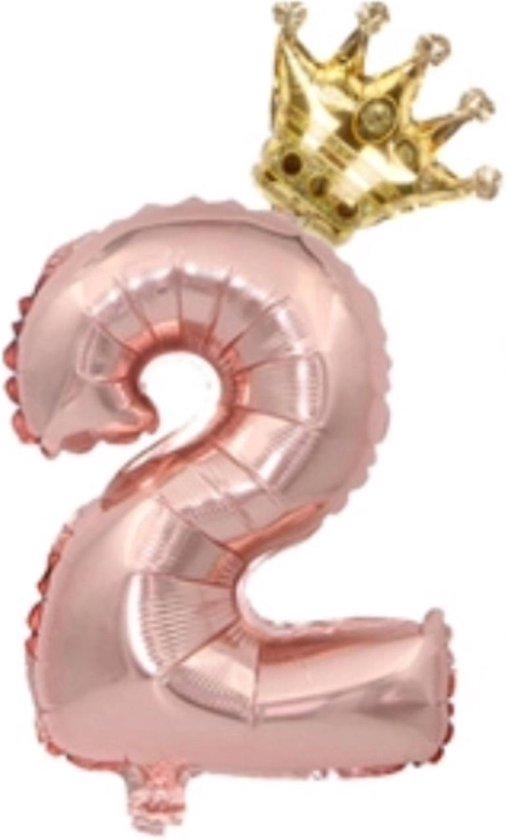 Folie ballon cijfer  2 rosé goud met gouden kroon