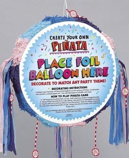 Pinata rond pastel kleuren geschikt om een ballon op te plakken
