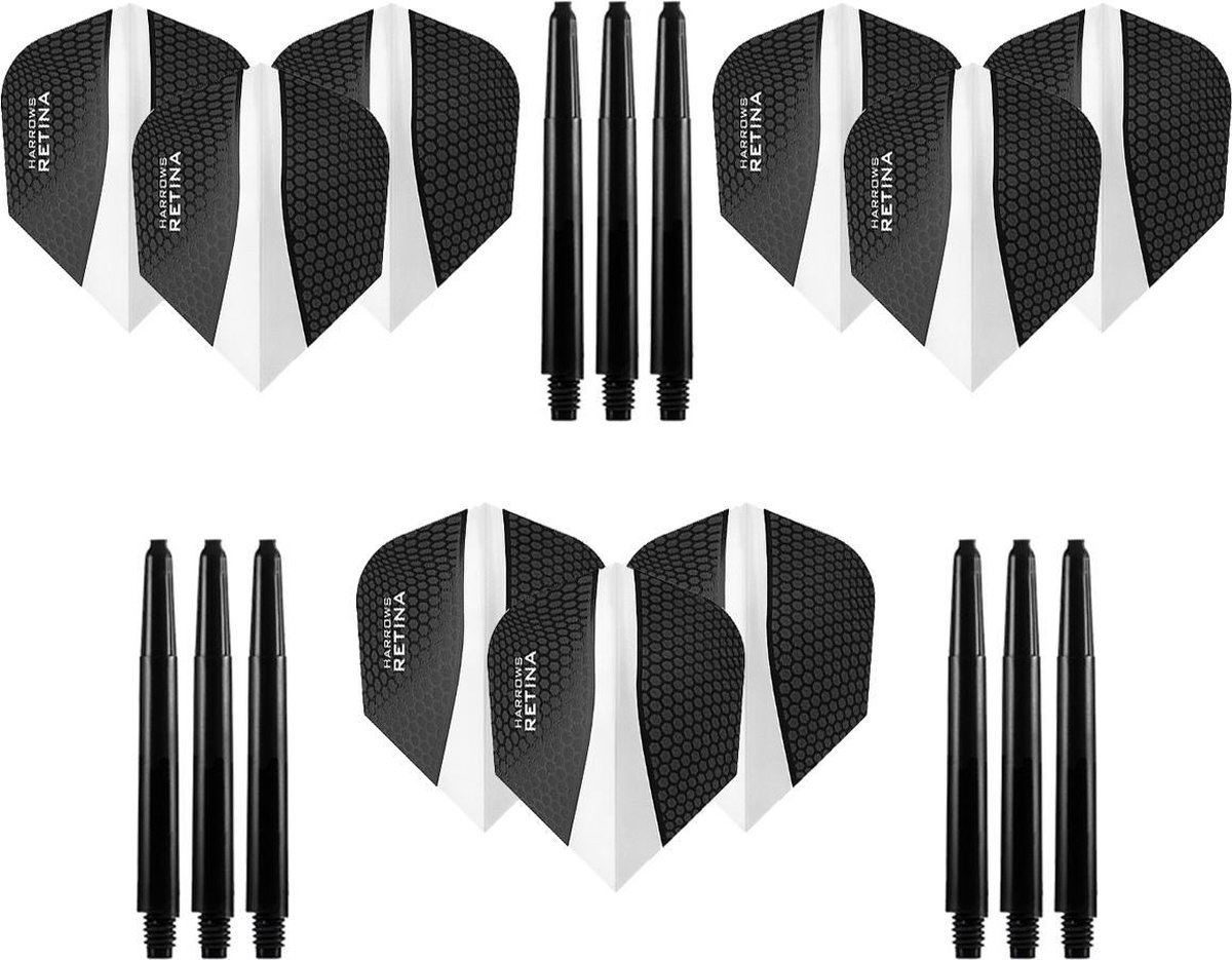 9 stuks Harrows Retina - Clear - Darts flights - en 9 stuks Dragon Darts - Medium - darts shafts