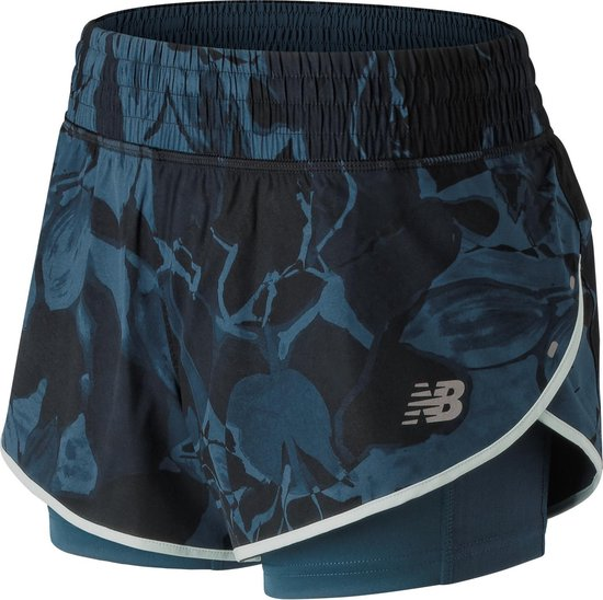 New Balance 4 In Printed Impact Sportshort Dames - Blue