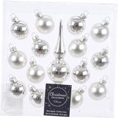Zilveren glazen kerstballen en piek set voor kleine kerstboom