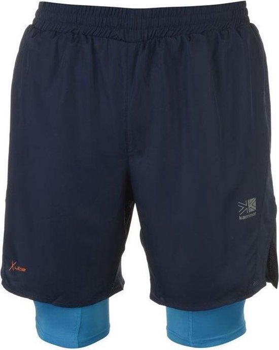 Karrimor 2 in 1 Runningshort sportbroek - Maat L - Heren - Donker blauw