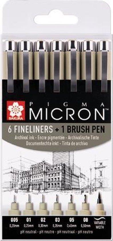 Afbeelding van Sakura Pigma Micron 6 zwarte fineliners + 1 brushpen