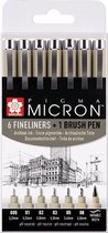 Sakura Pigma Micron 6 zwarte fineliners + 1 brushpen