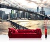 """""""Fotobehang """"""""New York Brooklyn bridge skyline"""""""" vliesbehang 300x210cm"""""""