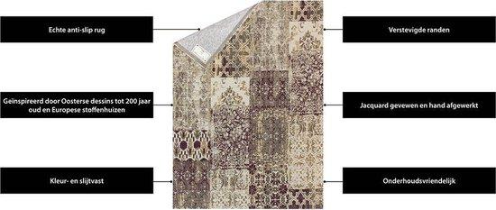 Vintage Vloerkleed Patchwork - Deco Safou - 140x200 Paars Tapijt