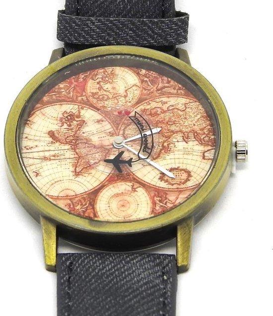 Horloge met wereldkaart en vliegtuig zwart vintage