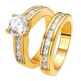 Eve Gold Plated 2 Delige Ring - Met Zirkonia - Maat 60