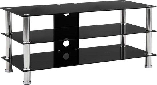 Tv-meubel 90x40x40 cm gehard glas zwart