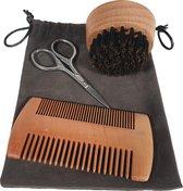 Broman baard verzorgingsset met kam, borstel en schaartje / Staal en hout
