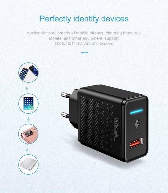 HALO - 9V Thuislader - Adapter - Snel Lader Intelligente LED – Reislader - Voor Samsung / Apple iPhone / Huawei - Wit