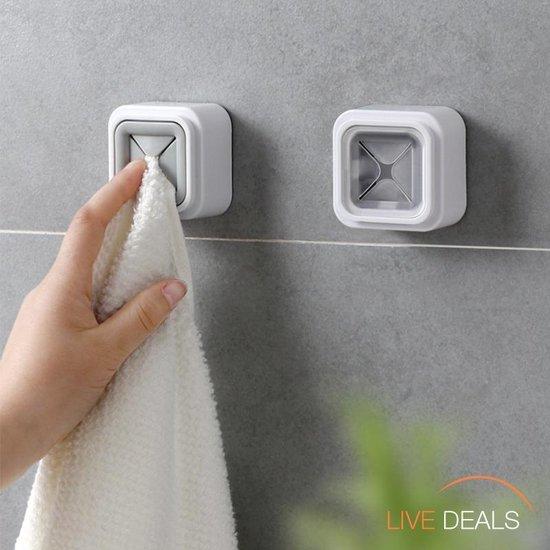 Zelfklevende Handdoek Houder | Ophang Klem Keuken Badkamer Toilet |  Handdoek Theedoek Vaatdoek | Handdoekhouder | Wandklem Theedoek |  Wit Met Grijs