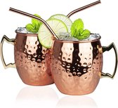 KitchenBrothers Moscow Mule Bekers - Incl. RVS Rietjes - 2 stuks