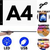 Light Pad A4 - Diamond Paintings LED Lichtbord - Diamond Painting voor Volwassen Hobby Pakket - IZGO Lightpad USB Dimbaar met 3 standen - 2021 Model