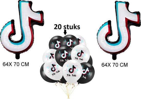 Trueperfect Tik Tok Ballon Set Verjaardag Decoratie TikTok 2x Folieballonnen 20 Latex Ballonnen