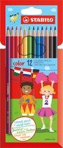 STABILO Color - Kleurpotlood - Intense Kleuren En Makkelijke Kleurafgifte - Etui Met 12 Kleuren