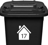Klikosticker - met uw huisnummer - wit - weerbestendig - container kliko stickers -14,5 x 15,5 cm - cijfersticker
