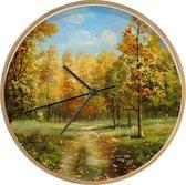 Klok Bossen en bomen illustratie Ø 30 cm - Een illustratie van herfstachtige bomen in een bos - Modern - Houtkleurige wandklok met foto