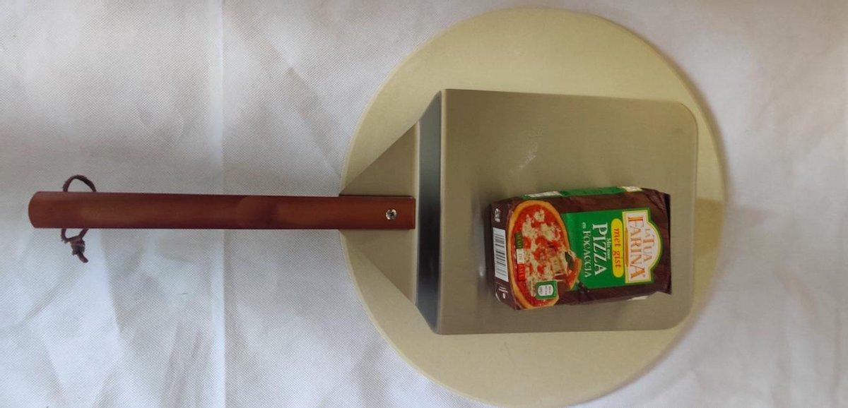 Jemati® Pizzaset - Pizzasteen met Spatel/Schep en pizza meel - 34cm diameter pizzaplaat- Cadeauset Pizza - Pizza Baksteen - BBQ steen - Pizzaplaat - Pizzaspatel - Pizzaschep - Pizzasteen - Pizza Set - DIY