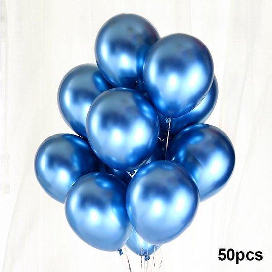 Luxe Ballonnen set - 50 stuks - Chrome Metal look - Latex - Feestdecoratie - Verjaardag - Party Balloons - Feestje  - Blauw