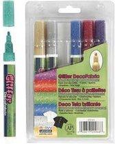 Deco Textielstiften, lijndikte: 3 mm, glitterkleuren, glitter, 6stuks