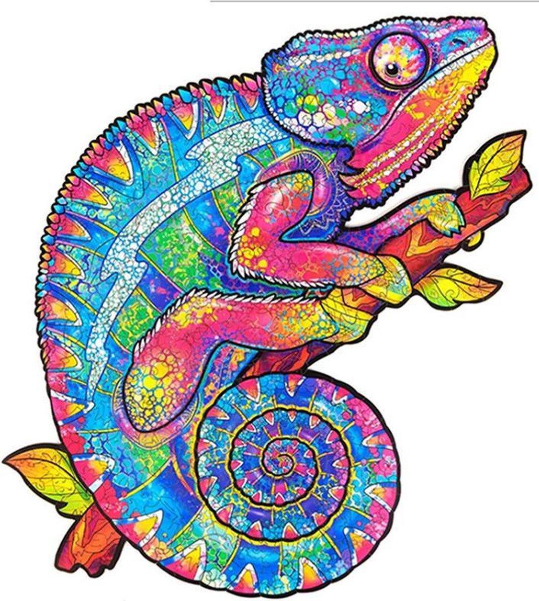 Houten jigsaw puzzel | Dierenfiguur puzzel | Houten dieren Puzzel | Educatieve puzzel | Decoratief | Houten Legpuzzel | Wooden Animal Jigsaw Puzzle | Breinbreker | A3 | Kameleon