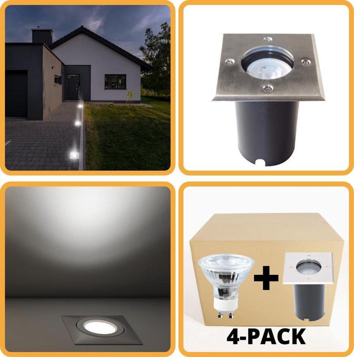 Proventa HeavyDuty LED Grondspots IP67 - Vierkant - 4 x inbouw tuinspots buiten - koud wit