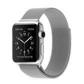 Apple Watch Armband Series 1/2/3/4/5/6/SE 38/40 mm Horloge Bandje - iWatch Milanees Watchband Polsband Luxe Milanese Loop - Roestvrij staal - Horlogeband Magneet Sluiting - Zilver