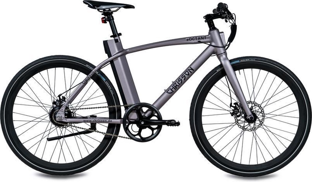 Chrisson eOctant 1-speed e-bike met kettingaandrijving grijs
