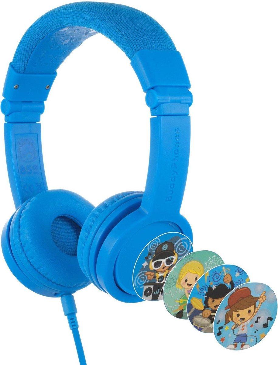 BuddyPhones Explore+ - kindvriendelijke on-ear koptelefoon - geluidsbegrenzing, audio splitter, meegeleverde stickers, blauw