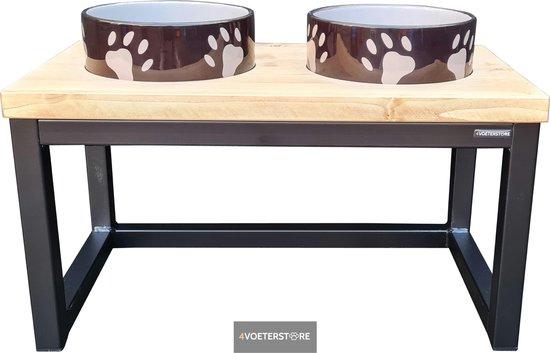4Voeterstore - Eetbak - Design voerstandaard - Keramiek - Bruin - Honden voerbak - Industriële voerbak - Voerstandaard - Voerbak hond met standaard - Hond - Voerschalen - Massief blad - Light Brown - 2 Voerschalen - Eetstandaard