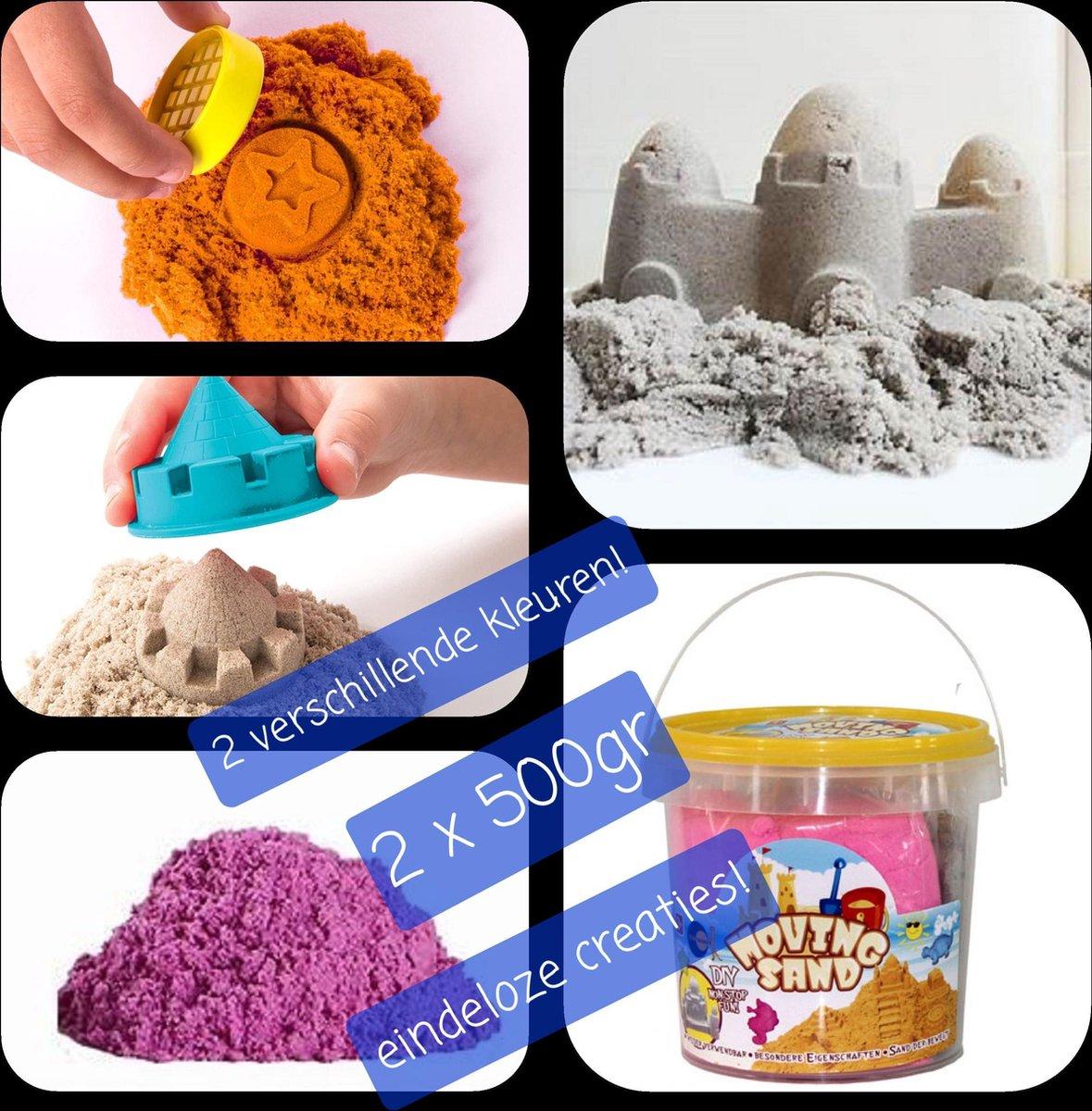 Speelzand - Kinetisch Zand - Bewegend Zand -in handige emmer- 2 x 500g -2kleuren- Magisch Zand- Magic Sand- Speelgoedzand