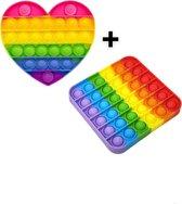 Pop it - Regenboog - Vierkant + gratis regenboog hart - Fidget Toy -