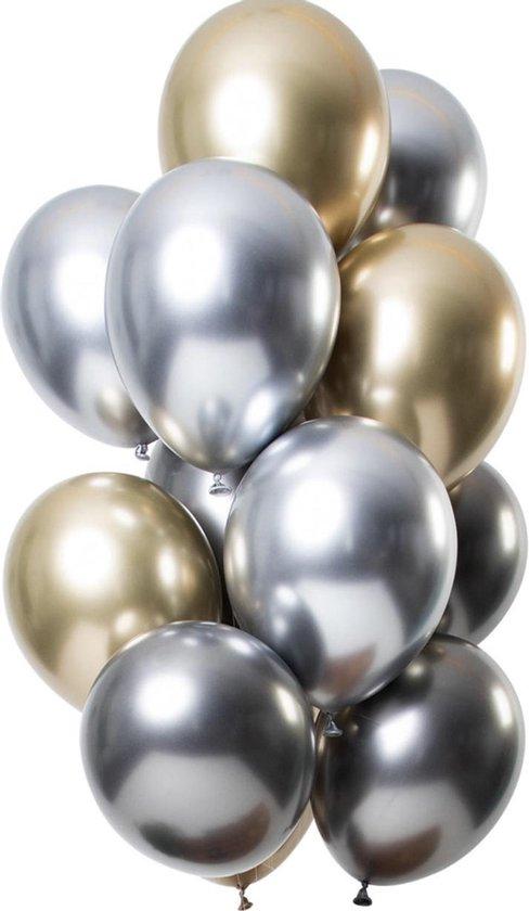 12 Ballonnen Chrome Silvold Feest Balonnen Party Feest Metallic - Versiering - Lets Decorate®