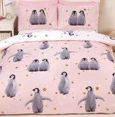 2-persoons meisjes dekbedovertrek roze / zachtroze met pinguïns en gouden sterren 200 x 200 cm