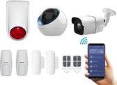 WiFi Draadloos alarmsysteem voor woning met binnen en- buitencamera - Beveiligingssysteem zonder abonnement - Pro pakket - Volledige huisbeveiliging