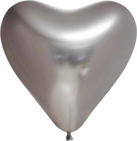 10 Chrome harten ballonnen  zilverkleurig.