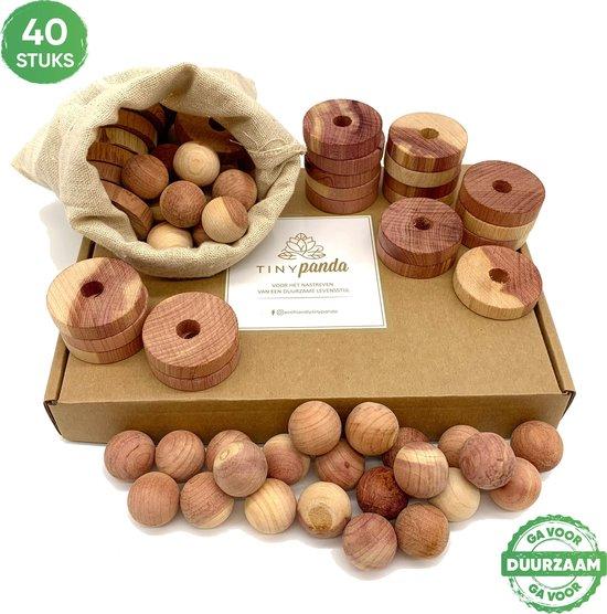 Cederhout tegen motten – 40 stuks – anti mot ballen en ringen - Natuurlijk aromatisch cederhout – milieuvriendelijk en duurzaam – beter dan mottenballen - essentieel voor iedere garderobe, kast, schoenenkast, auto etc.