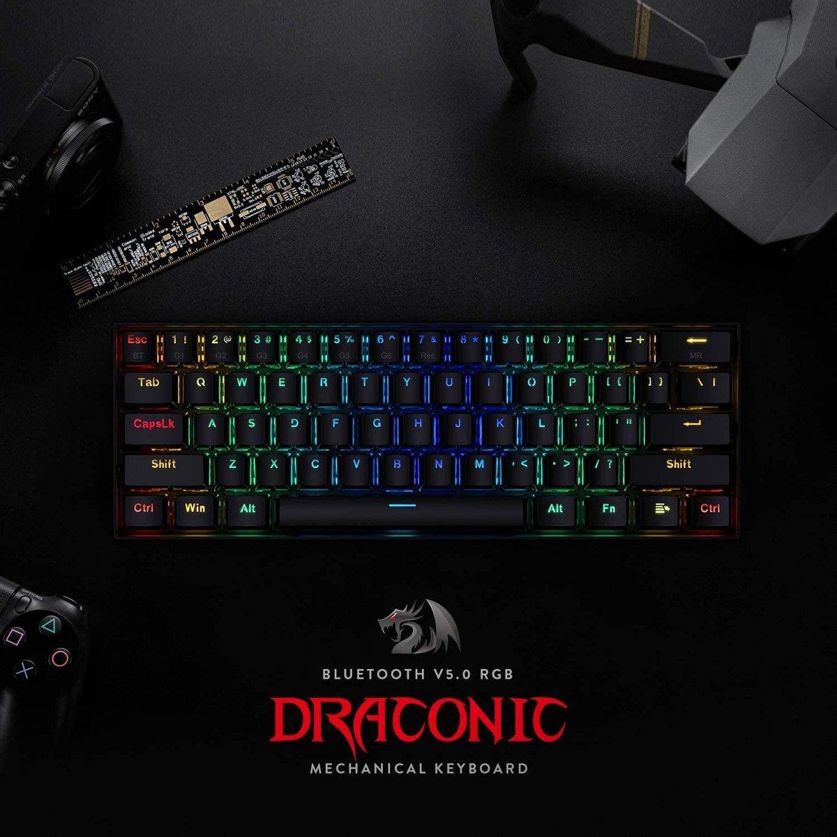 Redragon Draconic K530 RGB Draadloze mechanische Gaming toetsenbord | Brown switch | 60% gaming keyboard 61 toetsen – Bluetooth 5.0 toetsenbord – Compacte toetstenbord | Gaming PC