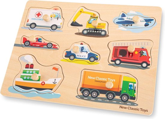New Classic Toys Houten Legpuzzel Voertuigen - 8 puzzelstukjes - FSC® 100%-gecertificeerd hout
