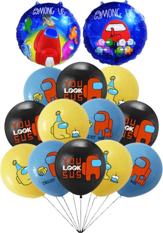 Among Us Ballonnen - 14 Stuks - Ballonnen Verjaardag - Helium Ballonnen - Latex Ballonnen -  Folieballonnen - Games - Mix Kleuren